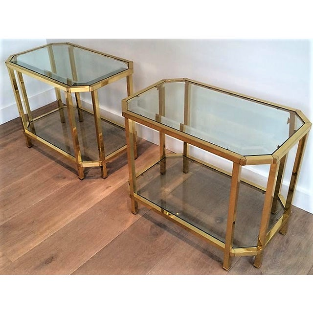 Pair of Two Tiered Roche Bobois Brass End Tables. Octagonal Side & Top Beveled Glass.