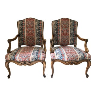 Manuel Canovas French Louis XIV Armchairs - a Pair For Sale