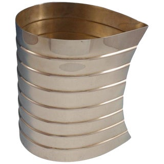 Pampaloni Italian Sterling Silver Wine Cooler Ribbed With Leaf Design (#3056) For Sale