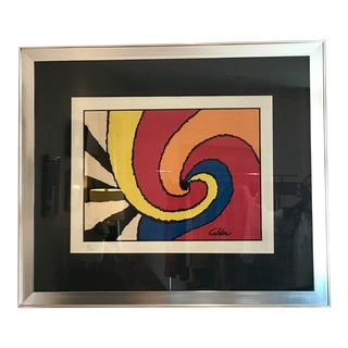 "1970 ""Swirls"" Abstract Lithograph Numbered 52/200 After Alexander Calder, Framed For Sale"