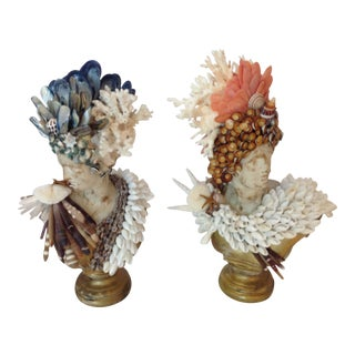 Apollo and Diane Shelled Busts- a Pair For Sale