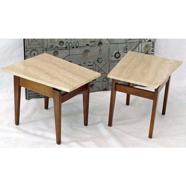 1960s Risom Walnut End Tables W/ Wedge Shape Travertine Marble Tops - A Pair For Sale - Image 5 of 13