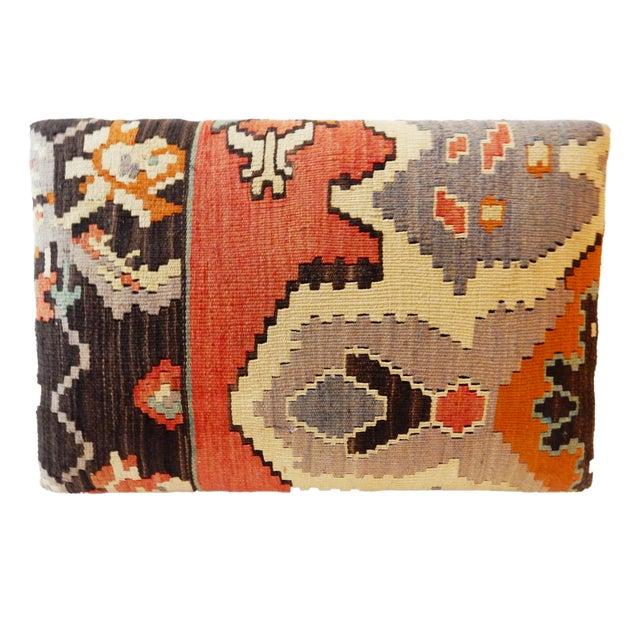 Tribal Kilim Rug & Mud Cloth Ottoman For Sale - Image 5 of 9