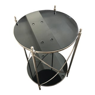 Contemporary Chrome Two-Tiered Round Side Table