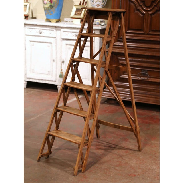 19th Century French Napoleon III Carved Walnut Folding Library Six-Step Ladder For Sale - Image 12 of 12
