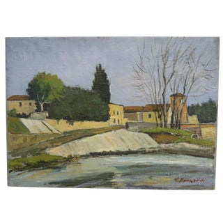 Vintage Mid Century Italian Oil Painting on Panel by Guido Bernardi For Sale