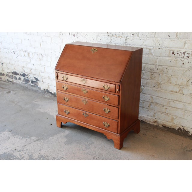 Chippendale 18th Century Early American Chippendale Cherry Wood Drop-Front Secretary Desk For Sale - Image 3 of 13