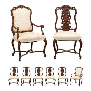 French Dining Chairs With Shield-Shaped Backs - Set of 8 For Sale