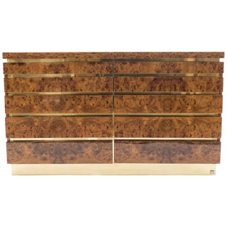 Large Burl Lacquer and Brass Chest of Drawers by j.c. Mahey, 1970s For Sale
