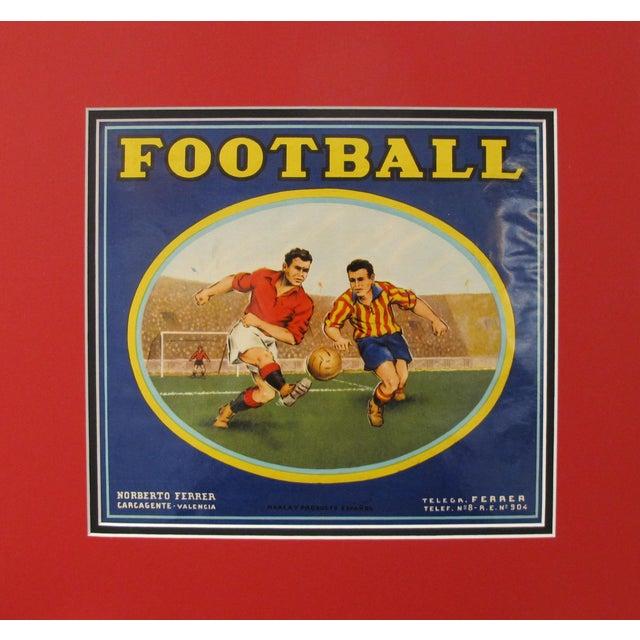 Art Deco 1920's Original Vintage Spanish Fruit Crate Label - Football - Norberto Ferrer - Carcagente Espana For Sale - Image 3 of 3
