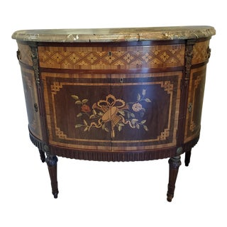 Vintage Italian Demi-Lune Marble Top Marquetry Console For Sale