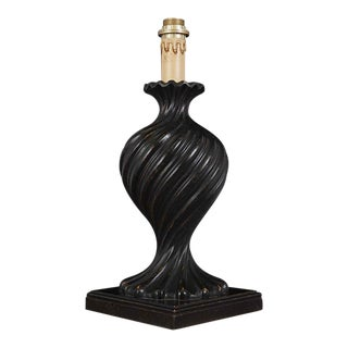 Black Carved Florentine Wood Lamp