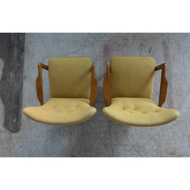 Beech Fritz Hansen Danish Pair of Low Back Lounge Chairs With Open Armrests, 1940s For Sale - Image 7 of 13
