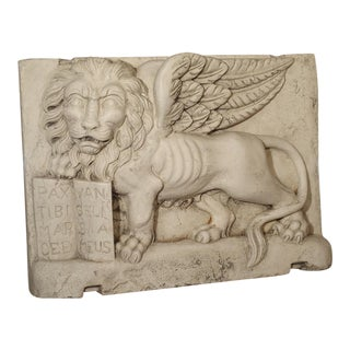 Carved Marble Wall Plaque From Italy-The Winged Lion of Venice For Sale