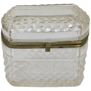 1880 French Cut Glass Jewel Casket For Sale
