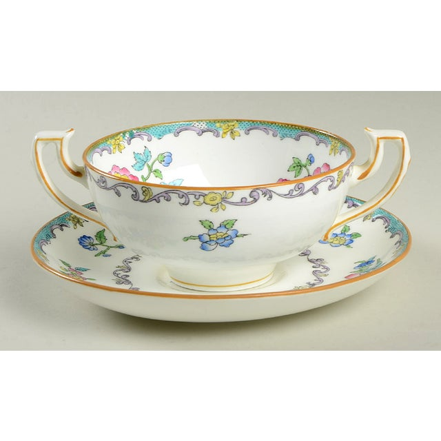 Minton Double Handled Footed Bowl and Saucer - Set of 6 For Sale In Greensboro - Image 6 of 13