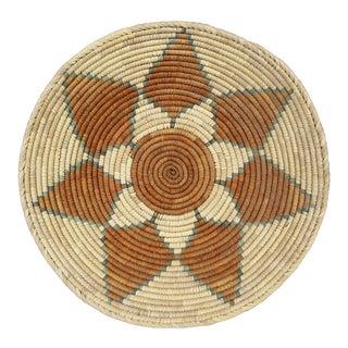 Vintage Woven Coil Basket Bowl Orange Teal Geometric Handmade For Sale