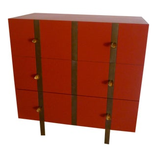 Paul Marra Three Drawer Banded Chest in Custom Lacquer and Inset Iron Band For Sale