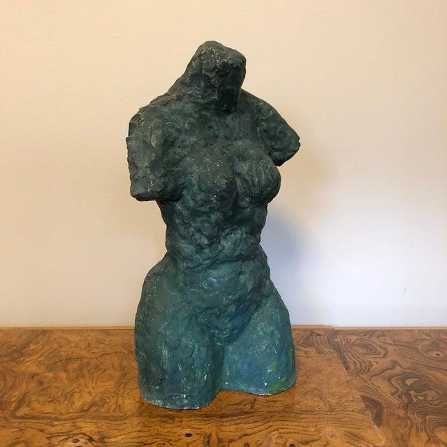 Mid-Century Verdigris Nude Bust Sculpture For Sale - Image 11 of 11