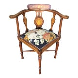 Image of Antique Edwardian Marquetry Inlaid Corner Chair W Petit-Point Seat For Sale