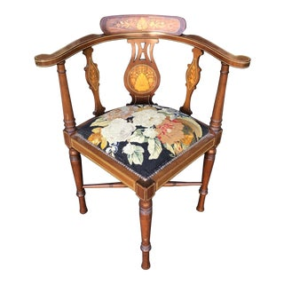 Antique Edwardian Marquetry Inlaid Corner Chair W Petit-Point Seat For Sale