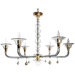 Classic Style Mid-Century Modern Murano Glass Chandelier by Venini For Sale