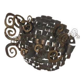 Large Metal Fish Wall Sculpture For Sale