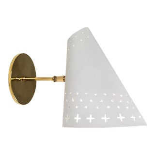 1950s Danish Large Perforated Sconces Attributed to Bent Karlby For Sale
