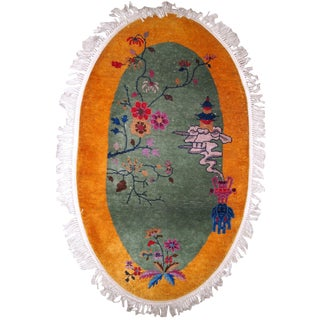 1920s, Handmade Antique Art Deco Chinese Rug 3.2' X 5.3' For Sale
