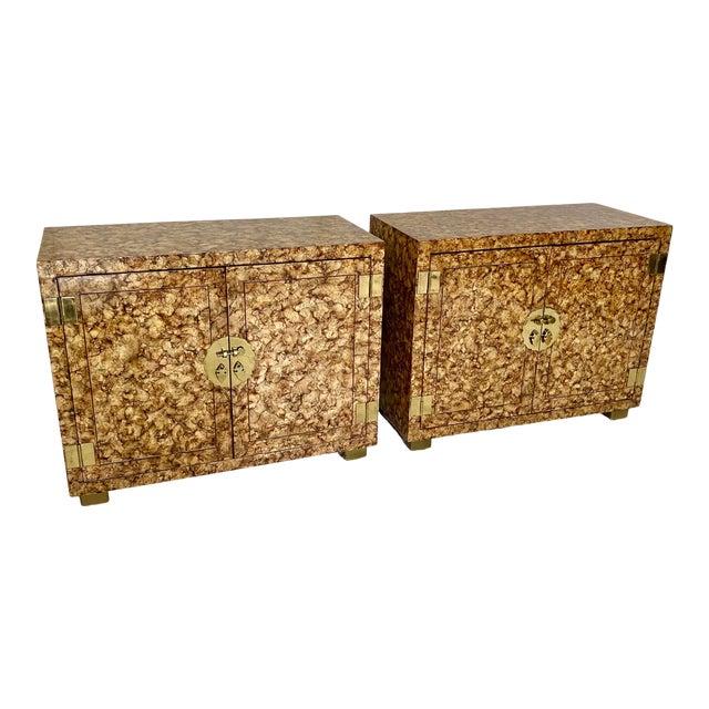 Vintage Henredon Faux Tortoiseshell Cabinets- a Pair For Sale