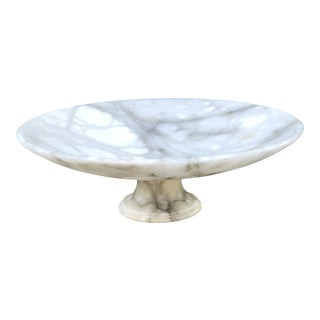 Vintage 1940s Italian Alabaster Low Pedestal Bowl