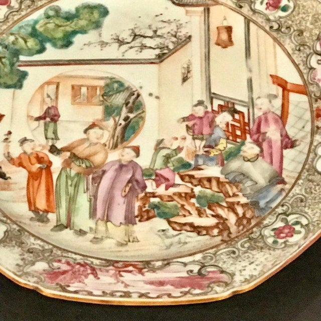 Ceramic 18th Century Chinese Export Famille Verte Octagonal Plate For Sale - Image 7 of 13
