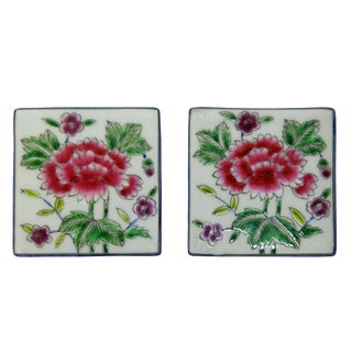 Hand Painted Flower Graphic Square Porcelain Coaster / Tile 2 Pcs For Sale