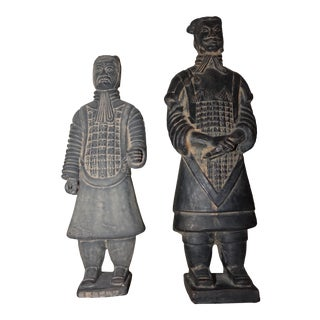 Vintage Terracotta Warrior Figurines - a Pair For Sale