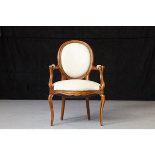 Louis XV Style Walnut Fauteuil in Nail Trimmed Creme Leather Preview
