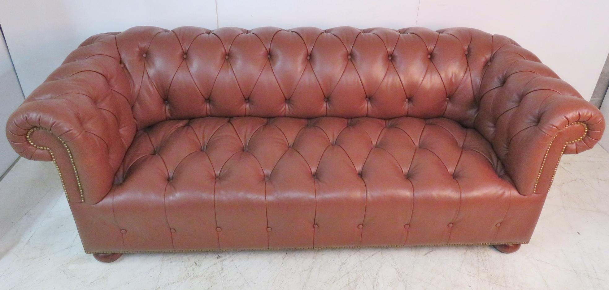 Brown Leather Tufted Chesterfield Sofa   Image 5 Of 5