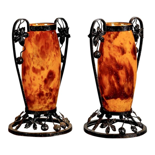 Pair French Tall Signed Delatte Nancy Art Glass and Iron Vases For Sale
