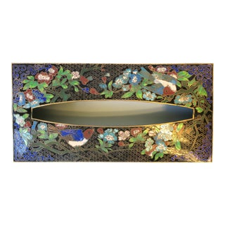 Brass and Cloisonné Enamel Tissue Box Holder Cover With Birds and Flowers For Sale