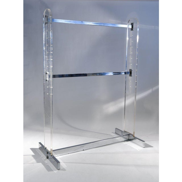 Campaign Chrome and Lucite Rack Fixture For Sale - Image 3 of 4