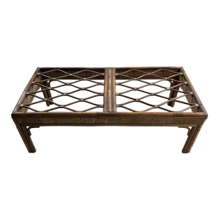 20th Century Boho Chic Rattan and Wicker Coffee Table For Sale