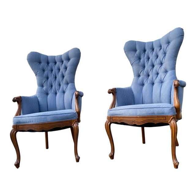 Vintage Butterfly Tufted Wing Back Bergere's For Sale