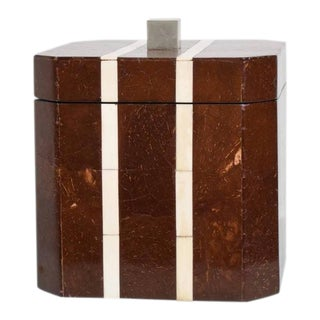 Mid Century Modern Exotic Ice Bucket Coconut Wood after Aldo Tura
