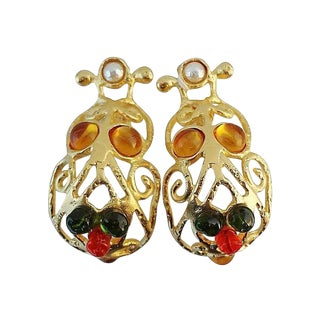 1980s Deanna Hamro Rhinestone Cabochon Earrings For Sale