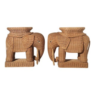 Italian Wicker Elephant Side Table Garden Stools - Pair For Sale