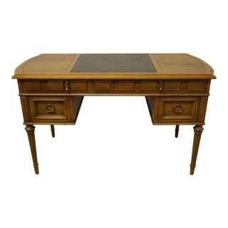 "Traditional Drexel Heritage Esperanto Collection 52"" Writing Desk W. Tooled Leather Top For Sale"