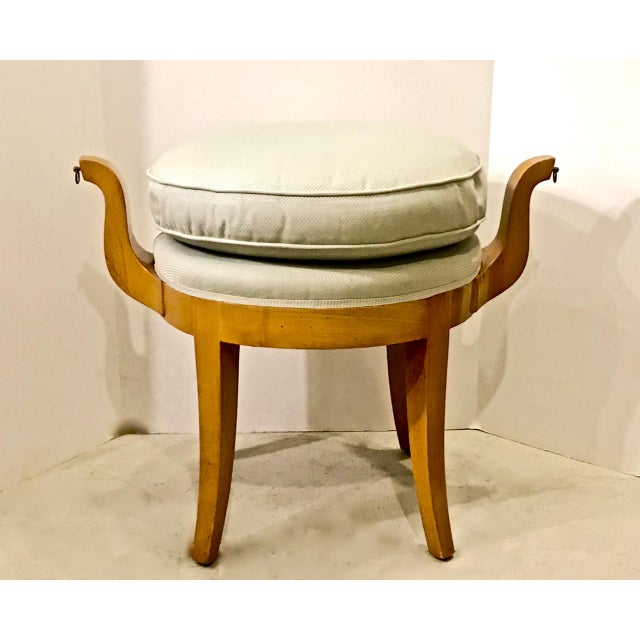 Wood French Deco Vanity Stool in Sycamore For Sale - Image 7 of 7