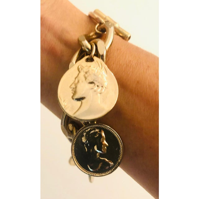 1980s Gold Roman Coin Charm Bracelet For Sale - Image 4 of 8