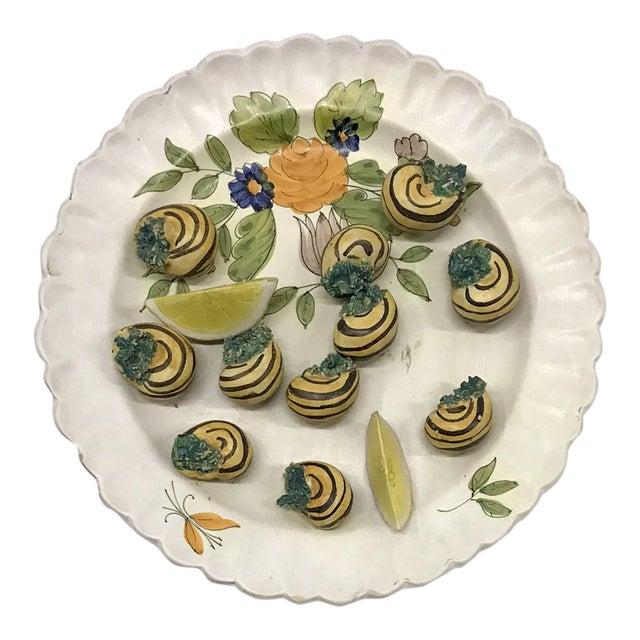 Mid-20th Century Italian Trompe-L'œil Plate of Escargots For Sale