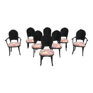 Beautiful Set of 8 Italian Ebonized Venetian Grotto Shell Back Dining Chairs. For Sale