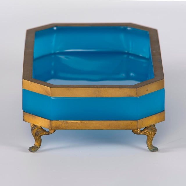 French Footed Blue Opaline Glass and Brass Dish For Sale - Image 9 of 13